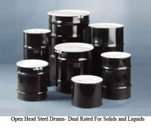 Open head steel drum for holding contaminated materials