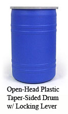 Open-head plastic taper-sided drum with locking lever